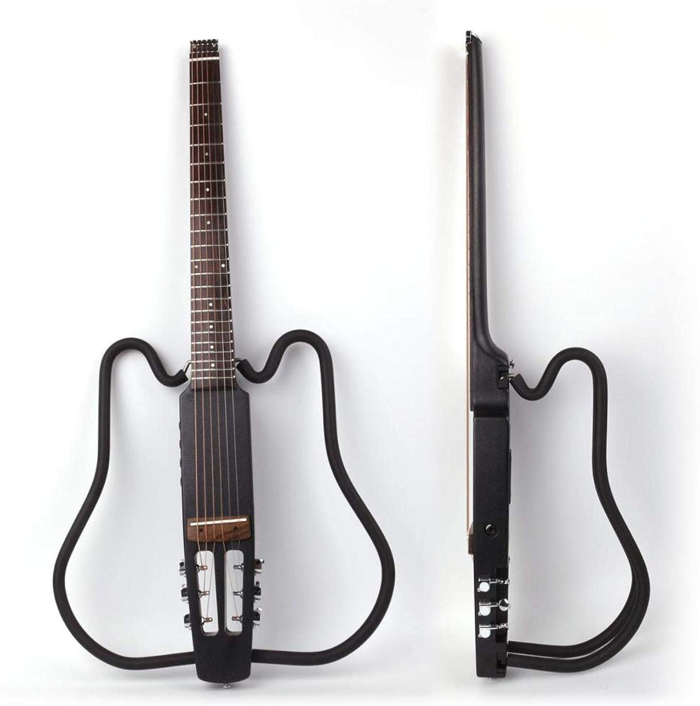 KEPOHK Guitarra eléctrica plegable acústica sin cabeza, conjunto de efectos integrados silenciosos de viaje portátil para la mano derecha