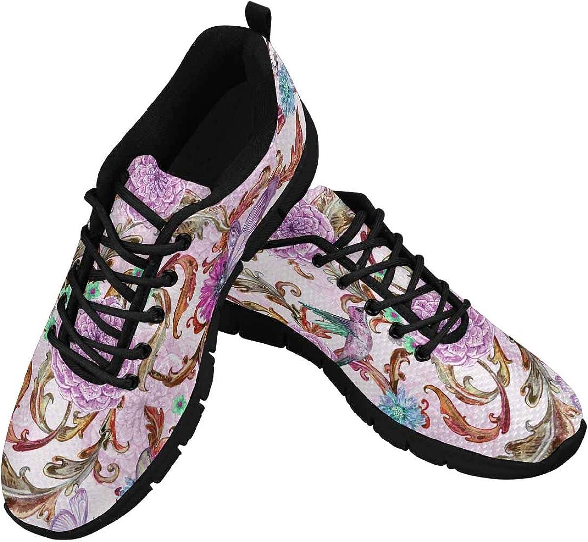 INTERESTPRINT Fantasy Purple Floral Women's Breathable Non Slip Sneakers
