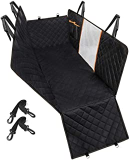 Dog Car Seat Cover, YIFENG Pet Car Seat Cover with Mesh Visual Window, Durable Dog Back Seat Hammock with Belt Openings & ...