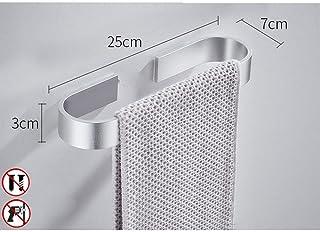 LINGKY Toallero Individual Autoadhesivo, Toallero De Baño De Aluminio, Toallero Baño De Cocina Montado En La Pared (Plata 25cm)
