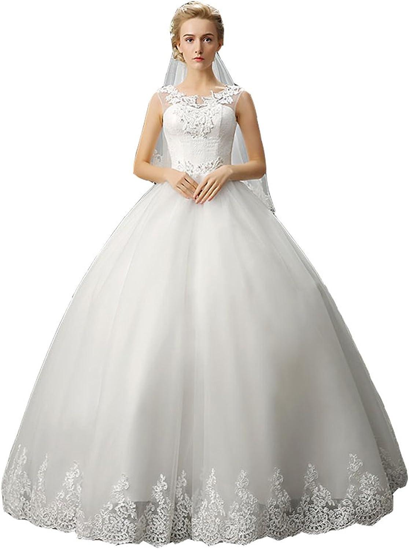JIERUIZE Women's Lace Applique Beaded Bride Wedding Dresses Sheer Long Wedding Gowns