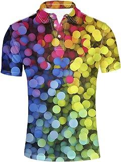 HUGS IDEA Fashion Adult Men's Jersey Polos Shirt Short Sleeve
