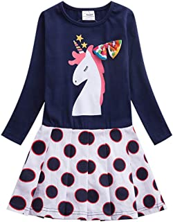 JUXINSU Kids Cotton Girls Long Sleeve Dresses Cartoon Animal Polka Dot Casual Dress 3-8 Years