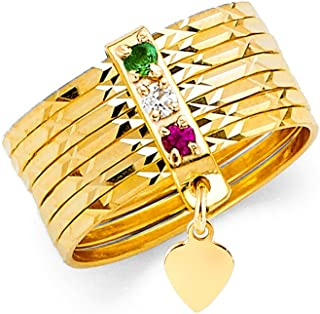 14K Yellow Solid Gold 8mm Tri Color Cubic Zirconia CZ 7 Days Stacked Semanario Ring Band