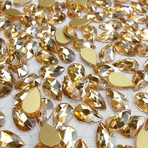 PENVEAT 20 Piezas de Cristal de Diamantes de imitación 3D Grandes Piedras de Gota de Agua decoración de Arte de uñas Strass Pulido Encanto diseño Accesorios joyería, champán, 9x14 mm 20 Piezas