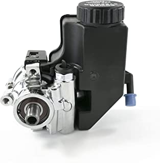A-Team Performance Power Steering Pump Saginaw TC Series Aluminum Type II with Integral Reservoir Compatible with GM (Chrome)