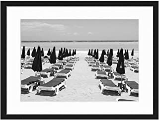 Wood Framed Canvas Artwork Home Decore Wall Art (Black White 20x14 inch) - Cyprus Ayia Napa Makronissos Beach Sand Sunbeds