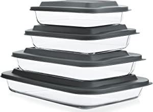 KOMUEE 8-Pieces Glass Baking Dish with Lids Rectangular Glass Baking Pan Bakeware Set with BPA Free Lids, Baking Pans for Lasagna, Leftovers, Cooking, Kitchen, Fridge-to-Oven, Nesting for Space-Saving