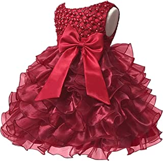 Baby Girl Dresses Ruffle Lace Pageant Party Wedding Flower Girl Dress c08618bd733e