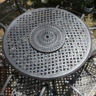 Lazy Susan Valerie 150cm Rundes Gartenmöbelset Aluminium - 1 VALERIE Tisch + 6 ROSE Stühle