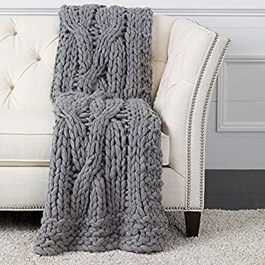 Ethan Allen Cross Cable Chunky Knit Throw, Gray
