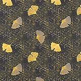 Baumwollstoff Cretonne Ginkgo – senf — Meterware ab 0,5m — STANDARD 100 by OEKO-TEX® Produktklasse I — zum Nähen von Bettwäsche, Kissen/Tagesdecken & Homeaccessoires