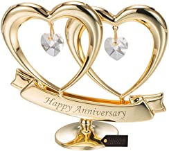 Matashi 24K Gold Plated Beautiful Happy Anniversary Double Heart Table Top Ornament Made with Genuine Crystals (Clear Crystal) - Great Gift for Husband Wife Mother Father