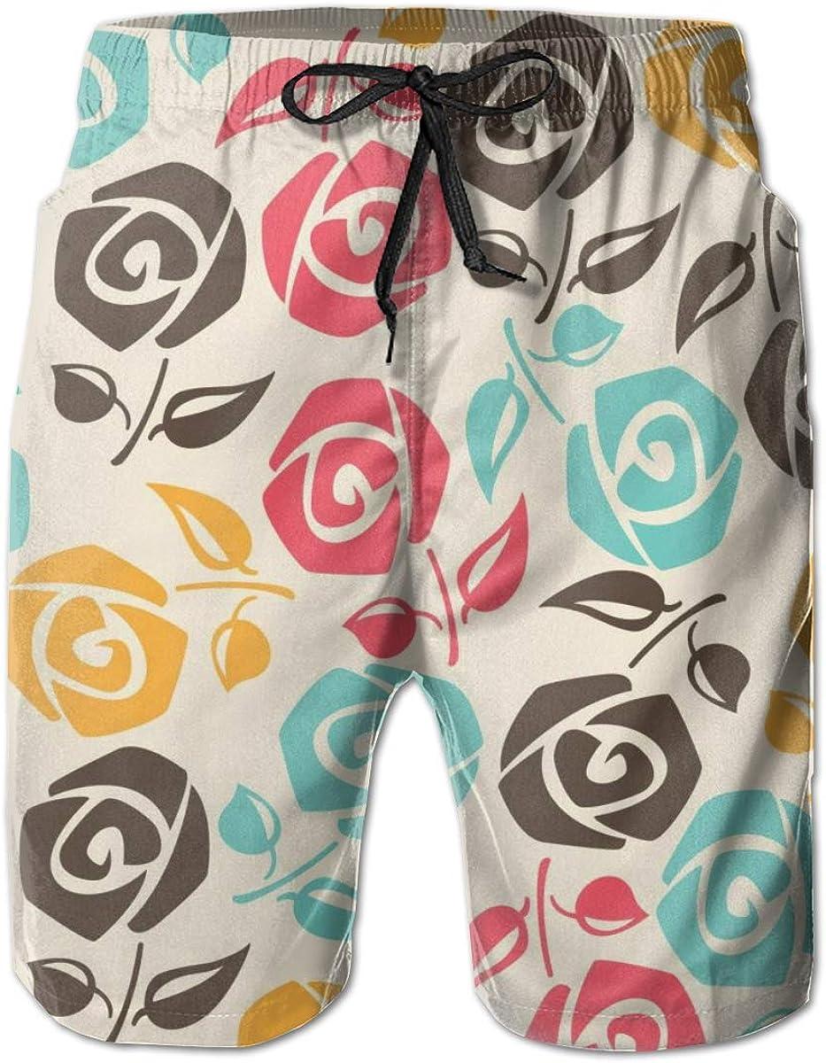 YongColer Men Cool Surfing Beach Board Shorts Swim Trunks - Sweet Rose