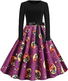Vestido Estampado de Halloween, Vestido de Noche Medieval con Bola de Manga Larga para Mujer Vestido de Noche con Cremallera de Cuello Redondo