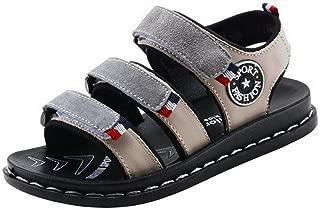 COMVIP Boy's Adjustable Strap Summer Open Toe Flat Beach Sandals Shoes