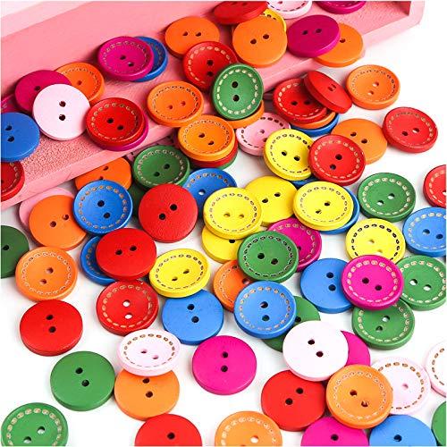Fangehong 200 Piezas Botones de Madera de Colores, 15mm Botones Costura de Redondo con 2 Agujero para Scrapbooking Manualidades de Bricolaje Artesanía