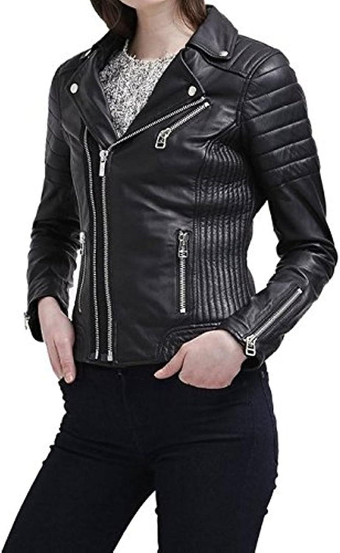 New Womens Genuine Sheep Leather Slim Fit Biker Jacket LFW397