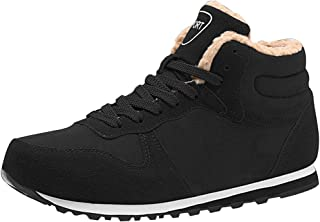Inlefen Unisex High help Autumn And Winter Keep warm Lightweight Leisure Lacing Flat shoes