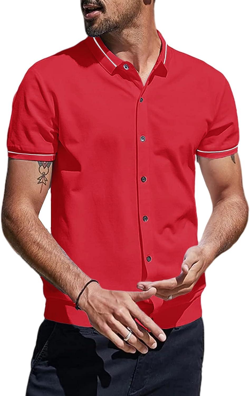 Selling rankings Zuoyouzi Men's Casual Short Sleeve Button Cheap sale Shirts Down Turn