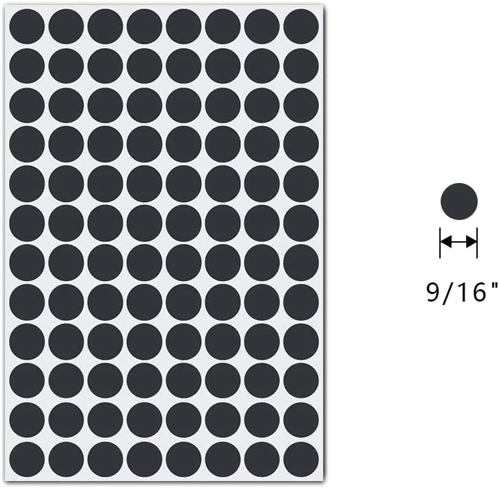 Screw Hole Stickers Black 576pcs 15mm Self-Adhesive Screw Covers Hole Paste Sticker 6 Sheets Dustproof for Wooden Furniture Cabinet