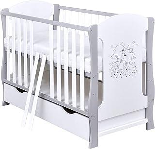 Baby Delux Babybett Kinderbett umbaubar Juniorbett Schublade Matratze Bärchen Motiv 120� Weiß Grau