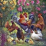 DHYED - Kit de pintura de estrás 5D de pollos de jardín