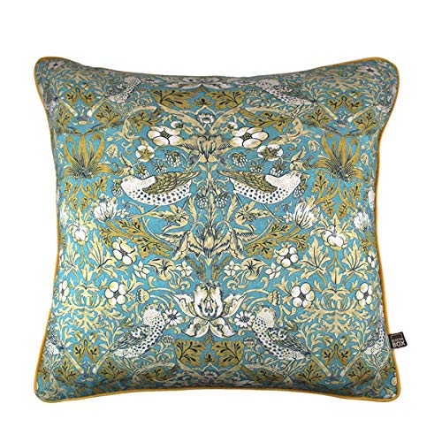 Scatter Box Vivaldi Velour Feather Filled Piped Cushion, Teal/Gold, 58 x 58 Cm
