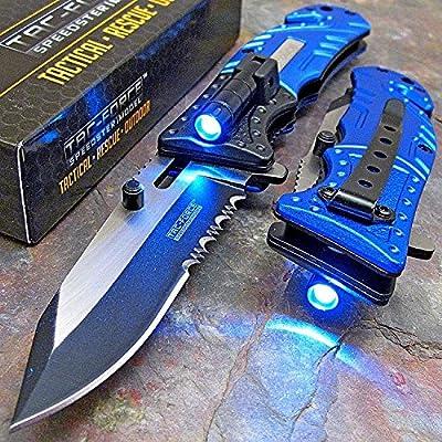TAC Force Blue Police Assisted Open LED Tactical Rescue Pocket Knife (Original)