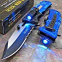 Tac Force Blue Police Assisted Open LED Tactical Rescue Pocket Knife