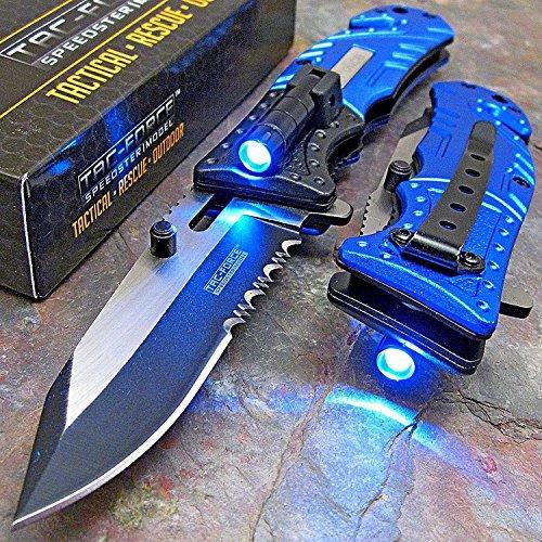 TAC Force Blue Police Assisted Open LED Tactical Rescue Pocket Knife (Basic Pack)