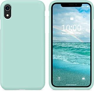 SURPHY Silicone Case for iPhone XR Case, Soft Liquid Silicone Shockproof Phone Case (with Microfiber Lining) Compatible with iPhone XR (2018) 6.1 inches (Mint Green)