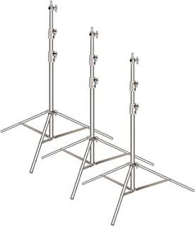 Neewer 3-Pack Stainless Steel Light Stand with 1/4-inch to 3/8-inch Universal Adapter 39-102 inches/99-260 Centimeters Fol...