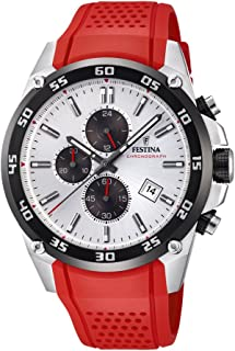 Festina 'The Originals collection' Men's Quartz Watch with White Dial Chronograph Display and Red Rubber strap F20330/1