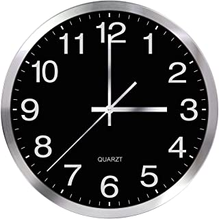 SIN&MI Wall Clock 12inch Metal Frame Glass Cover Non-Ticking Number Quartz Clock Modern Quartz Design Decorative Indoor/Kitchen Black