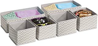 comprar comparacion mDesign Juego de 6 organizadores de cajones de tela – Separadores de ropa interior – gris topo/crema