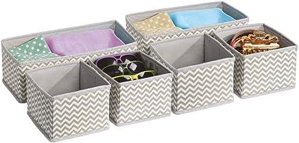 MetroDecor Juego de cajas de plástico para armario o cajón,Gris, Paquete de 6