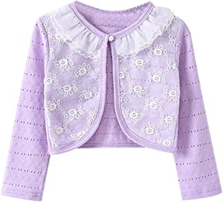 Little Girls Long Sleeve Lace Bolero Jacket Cardigan Flower Shrug Dress Cover Up
