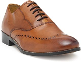 HATS OFF ACCESSORIES Leather Tan Oxford Shoes with Perforated Detaling