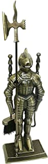 Lizh Metalwork Middle Ages Knight Cast Iron Fireplace Tool Set,Antique Brass