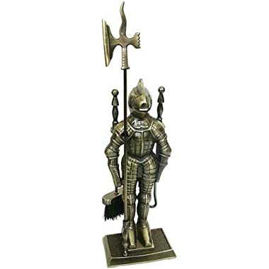 Lizh Middle Ages Knight Cast Iron Fireplace Tool Set ,Antique Brass