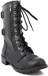 Dome-SA Vegan Lace Up Mid Calf Women Military Boot
