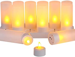 Gluckluz LED Candle Light Flameless Tea Lights Rechargeable Flickering Decoration Tealight Lamp with 12 Frosted Cups, Char...