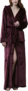 Womens Fuzzy Plush Long Hooded Robe Full Length Flannel Fleece Bathrobe Warm Housecoat