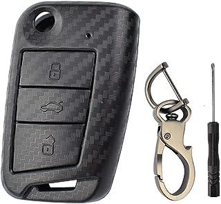 XUKEY Carcasa de Carcasa de Llave remota de Fibra Carbono para Polo Golf 7 Tiguan para Octavia Fabia Kodiaq Karoq para Ateca Leon Ibiza 2016 2017 2018 2019 2020