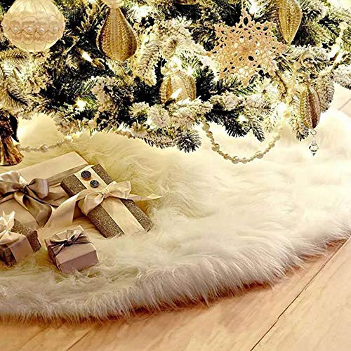 Gudotra Gonna per Albero Natale Bianco Tappeto Copertura Copri di Base in Finta Pelliccia per Decorazioni Festa Natale (90CM)