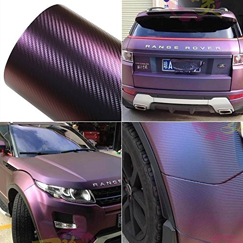 ATMOMO Purple and Blue Car Chameleon Wrap Auto Carbon Fiber Wrapping Film Vehicle Change Color Sticker Tint Vinyl Air Bubble Free (75cm x 152cm)