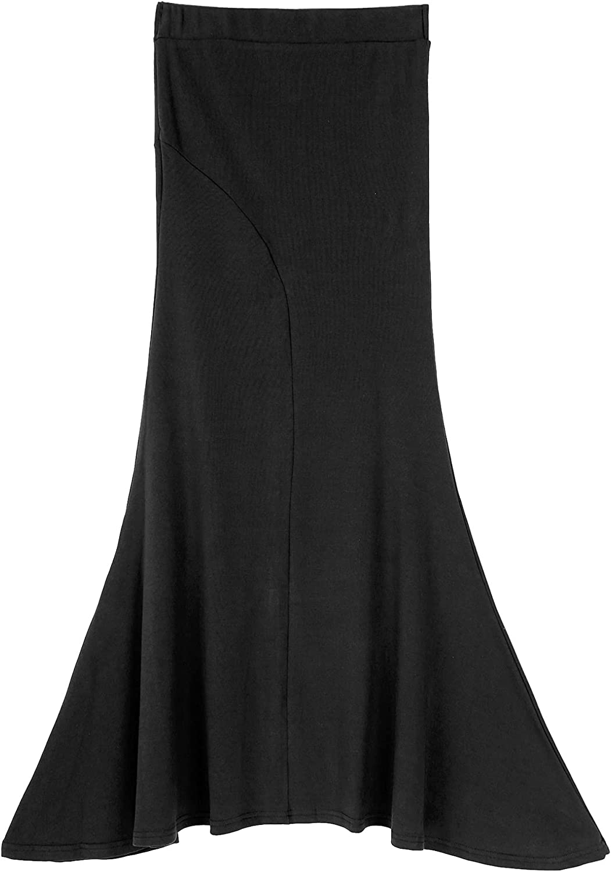 Choomomo Womens Summer Casual Fishtail Skirts Elegant Flowy Handkerchief Hemline Back Slit Midi Skirt