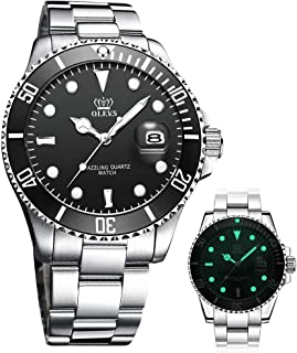 Classic Big Face Wrist Watches,Men Business Watches Dress Watch with Day,Green/Black/White/Blue Face,Flywheel Multifunction Chronograph Luminous Men Stainless Steel Wristwatch