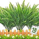 TURNMEON 18 PCS Artificial Plants Greenery, Fake Boston Fern Bush Plant Bushes Faux Outdoor UV Resistant Daffodils Greenery Shrubs Plants Indoor Outside Hanging Planter Home Garden Decor (Green)